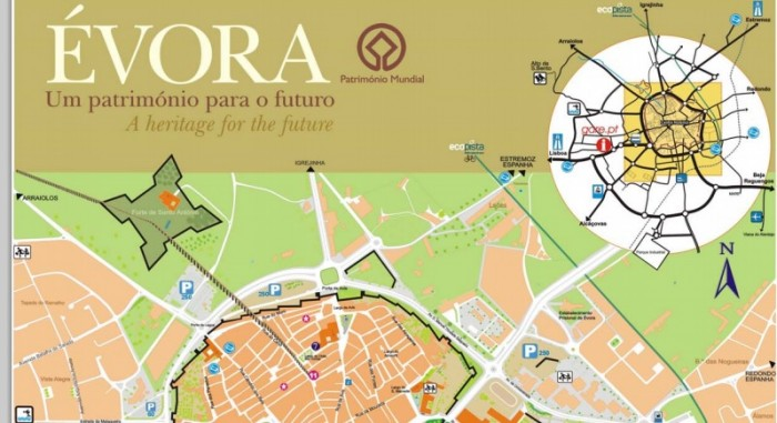 Map Evora Portugal